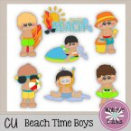 CU - Beach Time Boys Clip Art Stickers