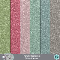 Family Memories glitter papers