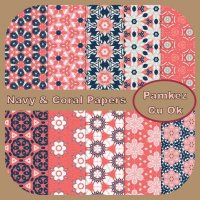 Navy & Coral Patterned Papers