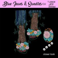 Blue jeans And Sandals Bling