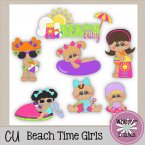 CU - Beach Time Girls Clip Art Stickers