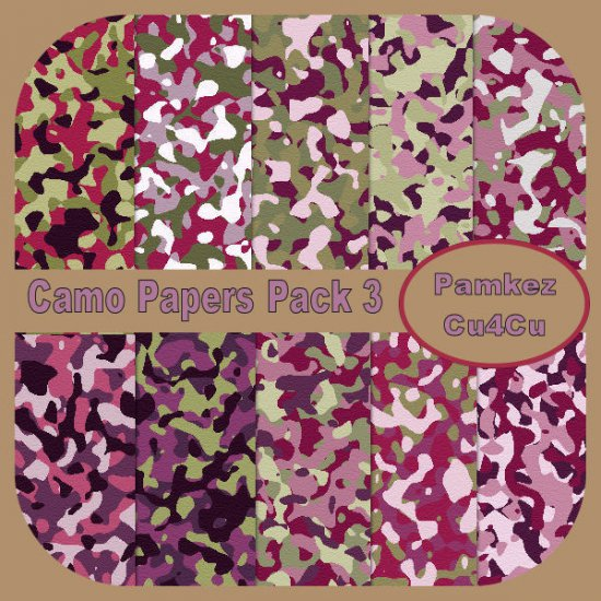 Camo Patterned Papers Set 3 - Click Image to Close